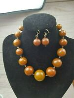 Art Deco Rolled Gold Wire Bakelite Marbled Brown large Bead necklace & Earrings