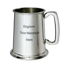 More details for new personalised 1 pint polished pewter tankard any message engraved