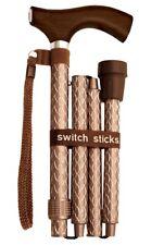 Folding Engraved Cognac Switch Sticks Walking Cane In Presentation Box