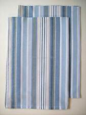 2 CAPE COD Coastal Beach Cottage Striped Kitchen Dish Towels Blue Gray White