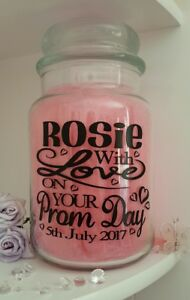 Prom Day/Night Personalised Sticker Label for Candle Jar/Photo Album School Gift