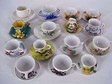 Lot of Miniature Cups With Saucers Assorted Styles Colors Most Marked Japan