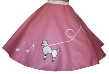 "Pink FELT Poodle Skirt with Notes _ Adult Size LARGE _ Waist 35""- 42"" _ L: 25"""