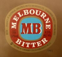 OLD AUSTRALIAN BEER LABEL, 1990s MELBOURNE BITTER CUB, 375 ML 5c REFUND 2