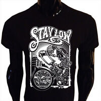 Stay Low T-Shirt Mens Funny Biker Rider Lowrider Skeleton Harley Bike LR2