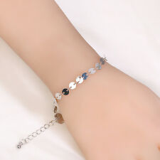 Summer Women Simple Bangle Round Sequins Alloy Gold Silver Bracelet Jewelry New