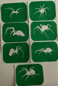 7 x  Spider-1Body Art And Glass Etching Stencils Glitter Stencil Art