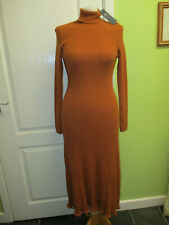 BNWT M&S SIZE L UK 14 16 18 TAN ROLL NECK LONG JUMPER DRESS VERY STRETCHY