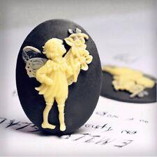 2pcs Resin Flatback Cameo Angel Embellishments 40x30x6mm Yellow and Dark Blue OB