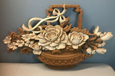 "Vintage Homco Syroco Usa Basket Of Flowers #7605 Wall Hanging Plaque 24 ""X 15"""
