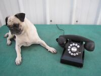 Rare Old AntiqueTelephone Rotary Dial Black Heavy Desk Ringer Phone