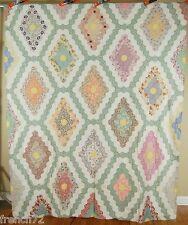 Beautiful 30's Field of Diamonds Flower Garden Antique Quilt Top ~Nice Fabrics!