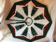 """CHRISTMAS TREE SKIRT Quilted Handcrafted Pieced Patchwork Trees 34"""" EUC"""
