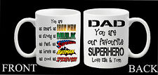 Personalised Superhero Mug Dad Daddy Step Dad Grandad Fathers Day Mug Present