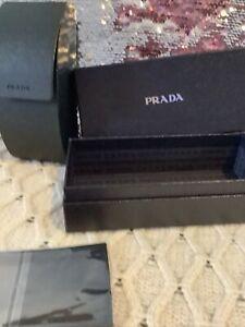 BRAND NEW PRADA LEATHER SUNGLASSESOPTICAL GLASSES  HARD CASE CLEAN WIPE BOX