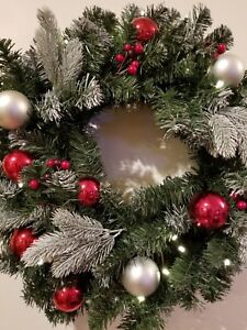 Christmas Holiday Wreath  Decoration 24 inches Battery Lighted Silver Red Balls