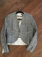 BALENCIAGA TWEED GOMME JACKET IN GREY BLACK SIZE 40