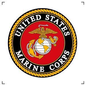 "US Marine Corps 8"" Round Emblem Centered On An 8"" Cotton Block"