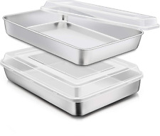 New listing Stainless Steel Baking Pan with Lid, E-Far 12⅓ X 9¾ X 2 Inch Rectangle Sheet