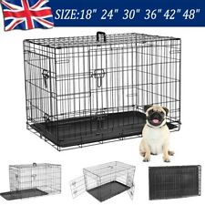 "18"" 24"" 30"" 36"" 42"" 48"" XL XXL Dog Cage Cat Puppy Pet Carrier Foldable +Tray"