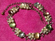 Vintage KARU ARKE Inc Silver-tone Necklace Moonstones, Rhinestones, Faux Pearls