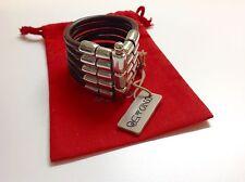 """NWT Uno de 50 Silvertone/Leather Bracelet """"Knock on Wood"""" 7""""   $200"""