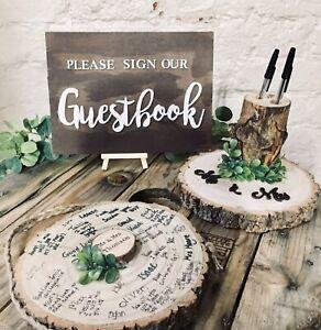 wooden log slice , guest book , wedding ,anniversary ,baby shower,keepsake