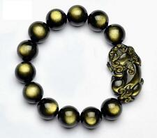 Natural gold Obsidian pi yao bracelet