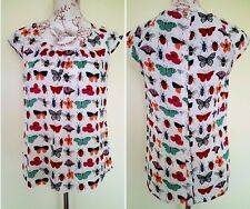 Dorothy Perkins Ladies Butterfly & Bees Summer Flare Top Size 10 UK EUR 38