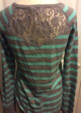 Size small lace sweater s aqua blue and gray stripe top trendy
