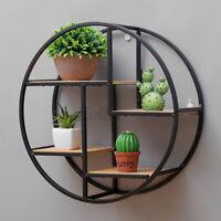 Retro Industrial Style Wood Metal Wall Shelves Rack Storage Round Display