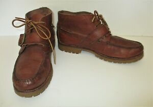 Polo Ralph Lauren Rumford Chukka Boots 9.5D Men brown leather lace up monk strap