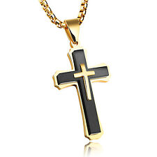 Men's Necklace Stainless steel crucifix Cross Pendant Black Gold Large 3mm 24''