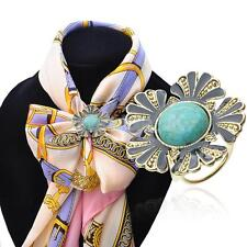 Faux Turquoise Diamante 3-ring Design Shawl Scarf Ring Clip Pendant Holder