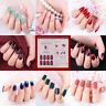 24Pc Fake Nails Reusable Stick On Nails Press on Full Cover False Nail Tips UK m