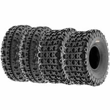 Set of 4, 21x7-10 & 20x11-8 Replacement ATV All Trail 6 Ply Tires A027 by SunF