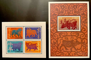 GAMBIA YEAR OF THE OX STAMPS SHEET + SS 1997 MNH CHINESE LUNAR NEW YEAR ANIMALS