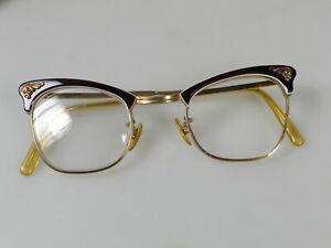 Damenbrille Brillenfassung Katzenaugen cat eye gold/schwarz Rockabilly Ära 50er