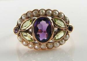 SUFFRAGETTE 9K 9CT ROSE GOLD AMETHYST PERIDOT PEARL ART DECO INS CLUSTER RING