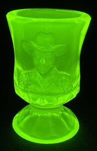 Boyd Art Glass Hopalong Cassidy Vaseline Toothpick Holder LIMITED