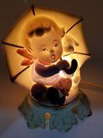 ALADDIN GIFTWARE Night Light Porcelain Lamp Boy Puppy Umbrella 62