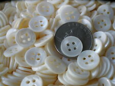 "100 Polished Bright White MOP Shirt Buttons 1/2"" mother of pearl 13MM 20L 4H VTG"