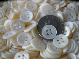 """100 Polished Bright White MOP Shirt Buttons 1/2"""" mother of pearl 13MM 20L 4H VTG"""