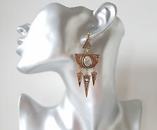 Gorgeous 8cm long boho style antique gold tone & faux moonstone drop earrings
