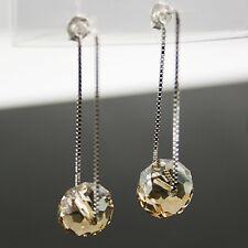 Champagne Or Cristal 12mm Roue Perle Argent 925 Boucles D'oreilles Pendantes