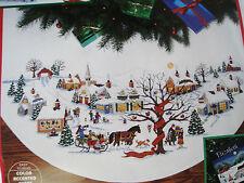 "Dimensions Counted Cross Tree Skirt Craft KIT,CHRISTMAS VILLAGE,Wysocki,8472,45"""