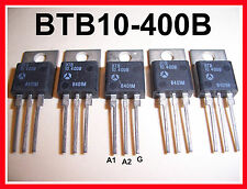 5-Pack SGS-THOMSON BTB10-400B 10A (10 AMP) 400V (400 VOLT) TO-220 TRIAC 5-Pack