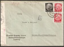 1518 GERMANY TO BELGIUM CENSORED COVER 1941 DUISBURG - HAINE.St.-PIERRE