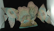 """Signed """"UNDER THE SEA""""...3 Piece Painted Copper Metal Sculpture"""