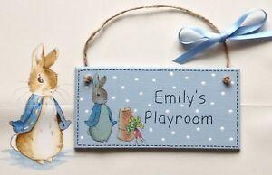 Personalised Beatrix Potter PETER RABBIT Plaque Sign Baby Girl Boy Room ⭐